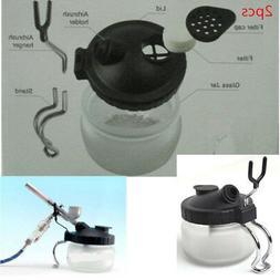 2pc airbrush pot spray gun cleaner stabilizer