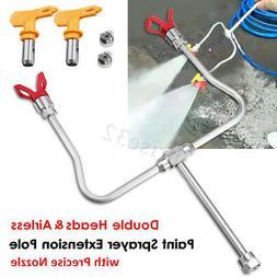 Double Airless Paint Sprayer Extension Pole Guard Nozzle Hea