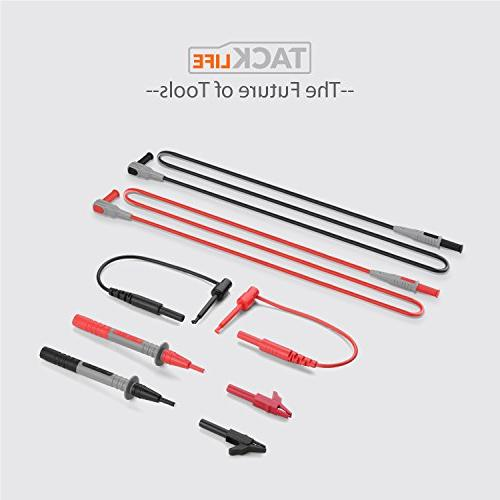 TACKLIFE Leads Kit, Leads with Alligator Extension, Test Probe, Mini-hooks Replaceable Clamp Meter Probes Tips Set
