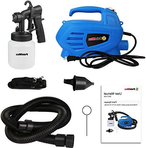 PaintMax Handheld Paint Gun. 3 Different Spray HVLP System, Quick Detachable Home Furniture Garage Deck Precise