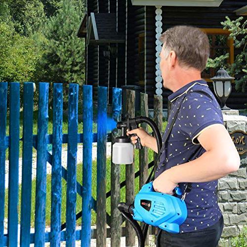 PaintMax Handheld Electric Paint Gun. 3 Different Spray System, Lid, Detachable Container- Home Garage Fence Deck Precise Paint