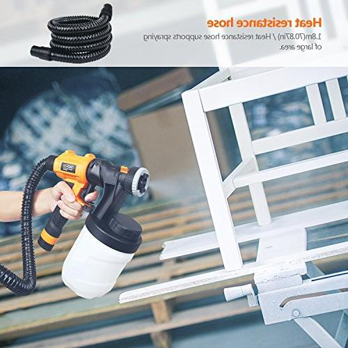 Paint Sprayer, 1100ml/min,800W 2 1200ml Replaceable & Spray Patterns, Knobs Outdoor Precise