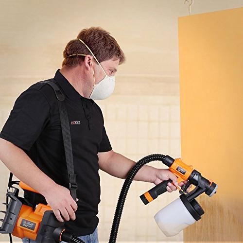 Paint Sprayer, 1100ml/min,800W Gun, 2 & Detachable Containers, Three Spray Patterns, Adjustable Knobs for Outdoor