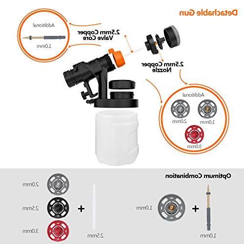 Paint Sprayer Spray Gun Spray Sizes, Valve Knob, 900ml Detachable Container