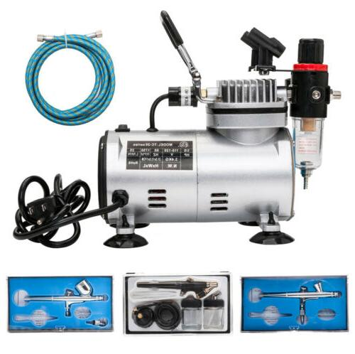3 Airbrush Compressor Kit Dual Action Spray Air Brush Tattoo