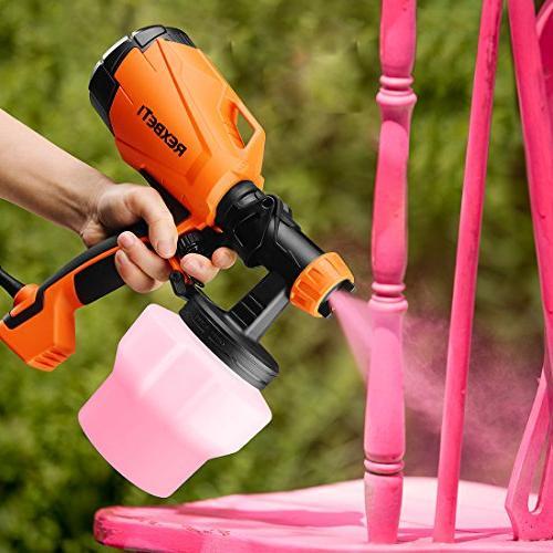 REXBETI Ultimate-750 Paint Sprayer, 500 Power HVLP Home Electric Gun, 3 Sizes, Lightweight, Easy Spraying Cleaning, Beginner