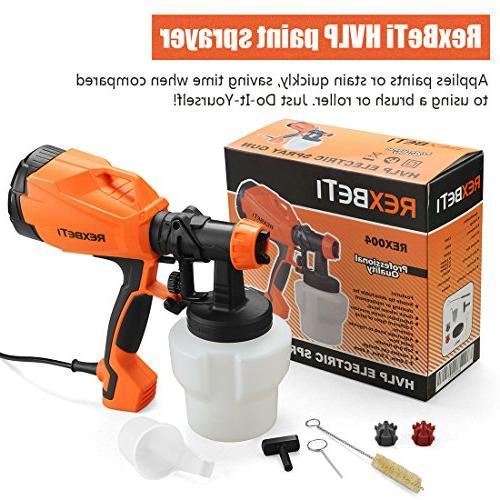 REXBETI Sprayer, 500 Watt HVLP Home Electric Spray Gun, 3 Sizes, Lightweight, Spraying Cleaning, Perfect for