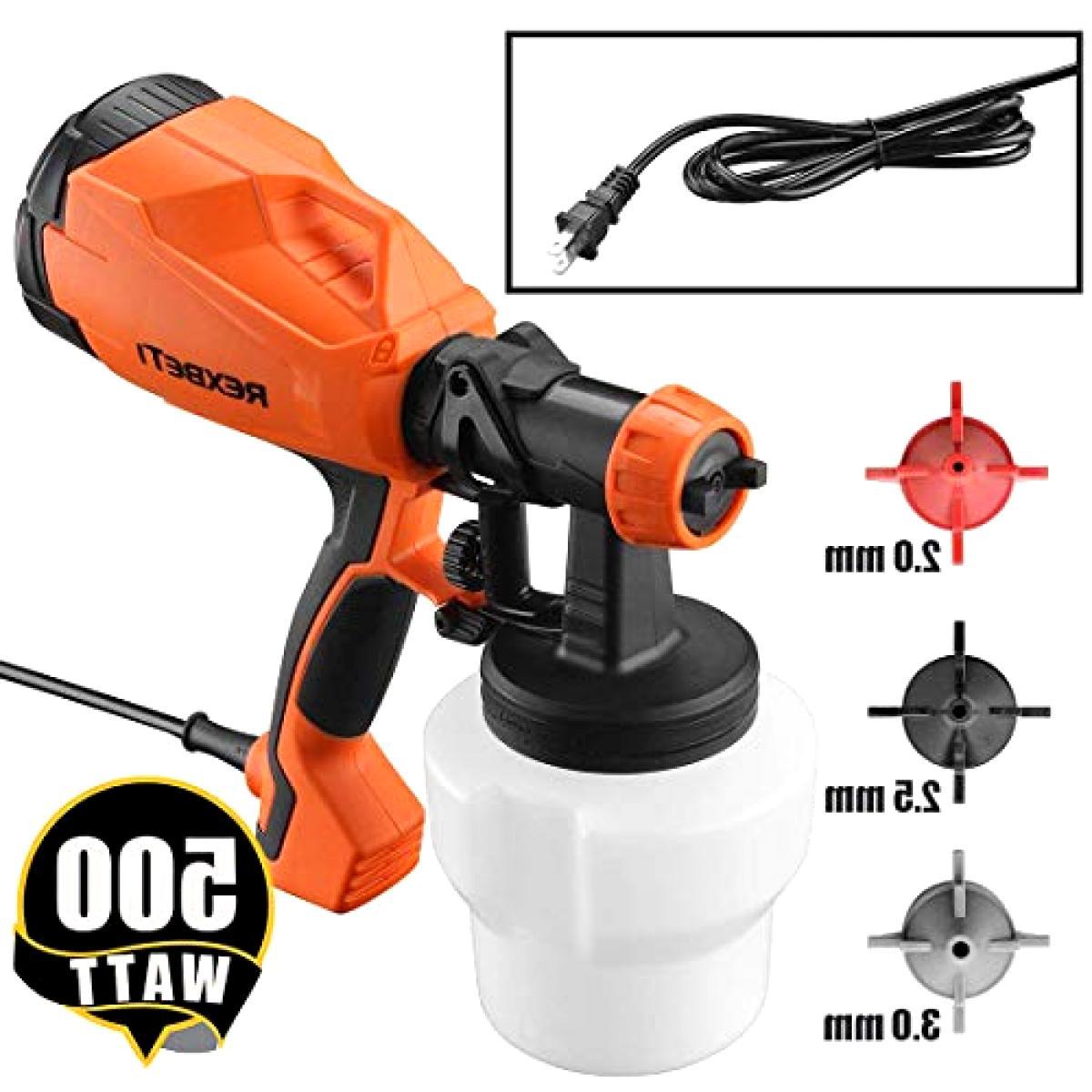 REXBETI Paint Sprayer, 500 HVLP Home Gun, 3 Nozzle Lightweight, Easy and