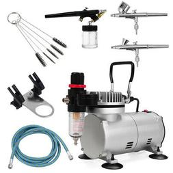 New 3 Airbrush & Compressor Kit Dual-Action Spray Air Brush