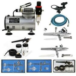 Portable 3 Airbrush Compressor Kit Dual Action Spray Air Bru
