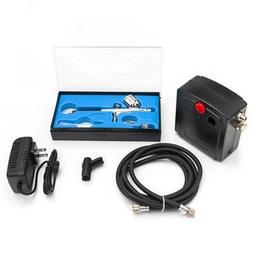 Portable Airbrush Compressor Kit Dual Action Spray Air Brush