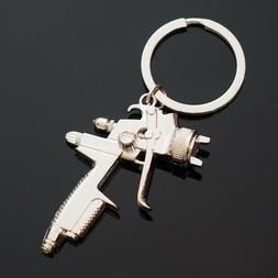 SPRAY PAINT Gun Silver Metal KEY CHAIN Ring Pendant KEYCHAIN